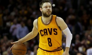 CLEVELAND, OH - JUNE 09: Matthew Dellavedova #8 of the Cleveland Cavaliers controls the ball against the Golden State Warriors during Game Three of the 2015 NBA Finals at Quicken Loans Arena on June 9, 2015 in Cleveland, Ohio. NOTE TO USER: User expressly acknowledges and agrees that, by downloading and or using this photograph, user is consenting to the terms and conditions of Getty Images License Agreement. (Photo by Mike Ehrmann/Getty Images)